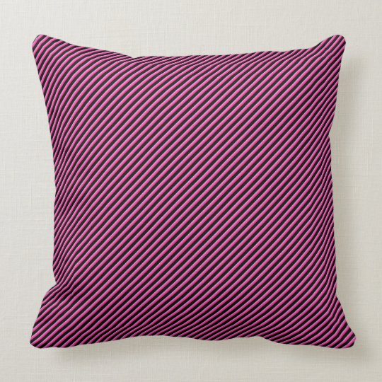 Hot Pink and Black Diagonal Striped Throw Pillow