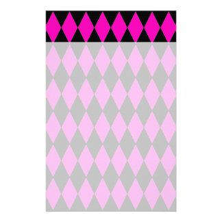 Hot Pink and Black Diamond Harlequin Pattern Stationery