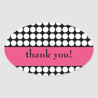 hot pink and black dot thank you oval sticker