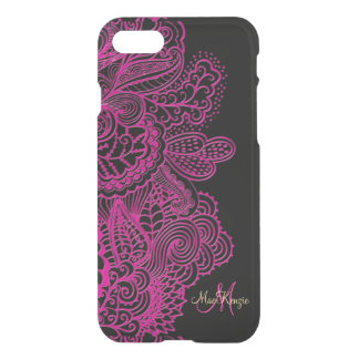Hot Pink and Black Lace Monogram iPhone 7 Case