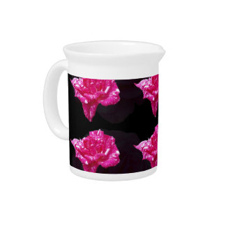 Hot Pink And Black Layer Rose Pattern, Pitcher