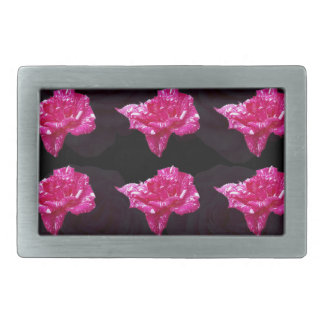 Hot Pink And Black Layer Rose Pattern, Rectangular Belt Buckles