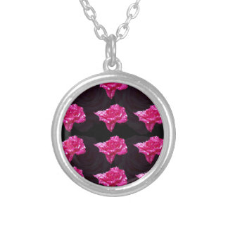 Hot Pink And Black Layer Rose Pattern, Silver Plated Necklace