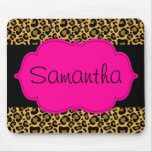 Hot Pink and Black Leopard Personalized Mousepads