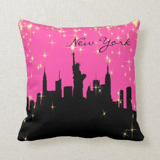 Hot Pink and Black New York Skyline Cushion