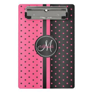 Hot Pink and Black Polka Dots - Monogram