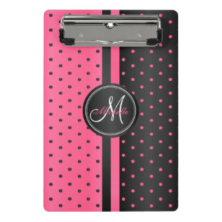 Hot Pink and Black Polka Dots - Monogram Mini Clipboard