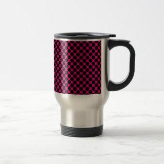 Hot Pink and Black Polka Dots Coffee Mugs