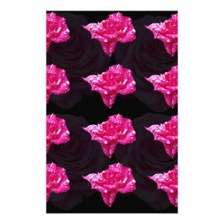 Hot Pink And Black Rose Pattern, Stationery
