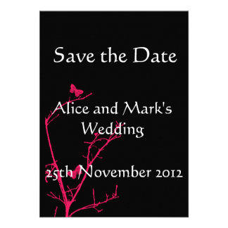 hot pink and black save the date card personalized invites