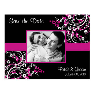 Hot Pink and Black Save the Date Photo Postcards