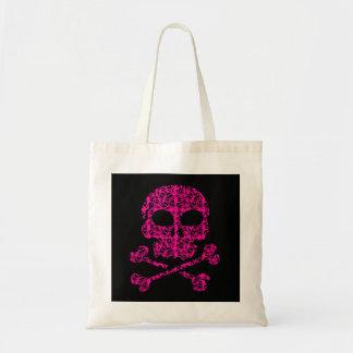 Hot Pink and Black Skulls for Halloween Bag