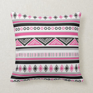 Hot Pink and Black Southwestern Pattern Throw Pillow
