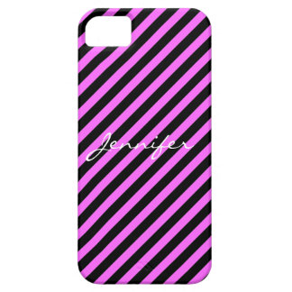 Hot Pink and Black Stripes iPhone 5 Case