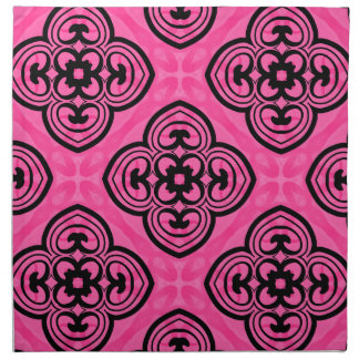 Hot pink and black victorian kaleidoscope decor napkins