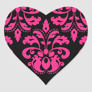 Hot pink and black vintage victorian damask heart heart sticker