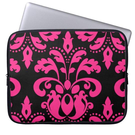 Hot pink and black vintage victorian damask laptop sleeve