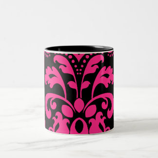 Hot pink and black vintage victorian damask Two-Tone coffee mug