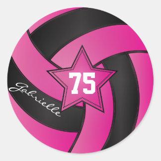 Hot Pink and Black Volleyball   DIY Text Round Sticker