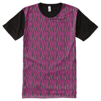 Hot Pink and Black Zebra Pattern All-Over Print T-Shirt