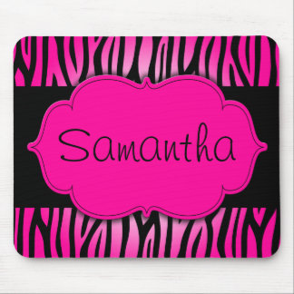 Hot Pink and Black Zebra Personalised Mouse Mat