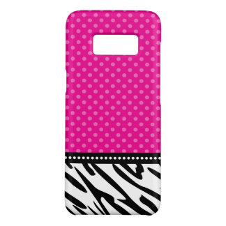 Hot Pink and Black Zebra Polka Dot Case-Mate Samsung Galaxy S8 Case