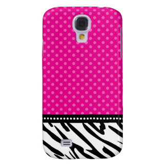 Hot Pink and Black Zebra Polka Dot Galaxy S4 Case