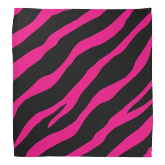 Hot pink and black zebra print bandana for women