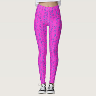 Hot Pink and Blue Paisley Leggings