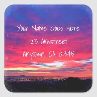 Hot pink and blue sunrise photo custom address square sticker