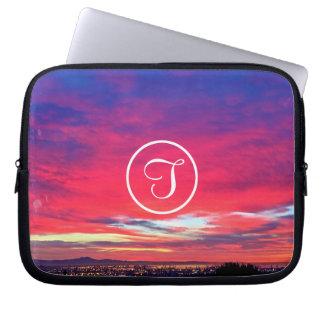 Hot pink and blue sunrise photo custom monogram laptop sleeve