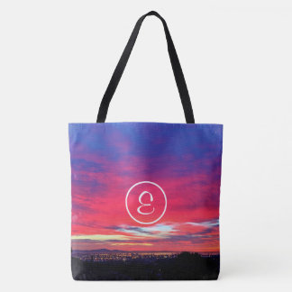 Hot pink and blue sunrise photo custom monogram tote bag