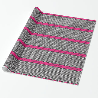 Hot Pink and Chevron ZigZag Custom Birthday Gift Wrapping Paper