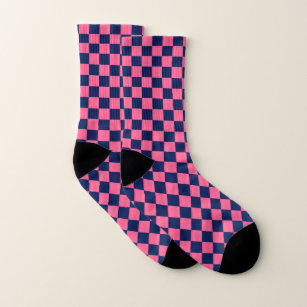 Hot Pink and Dark Blue Chequerboard Socks