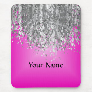 Hot pink and faux glitter mouse pad