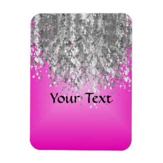 Hot pink and faux glitter rectangular magnets