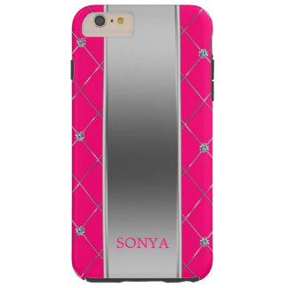 Hot Pink And Geometric Shapes Tough iPhone 6 Plus Case