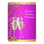 Hot Pink and Gold Birthday Party Personalised Invitations