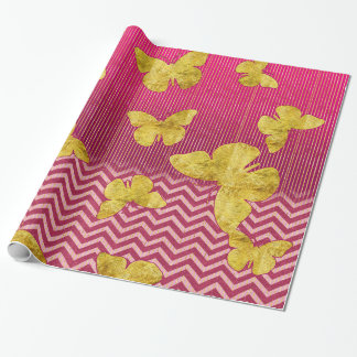 Hot Pink and Gold Butterflies Wrapping Paper