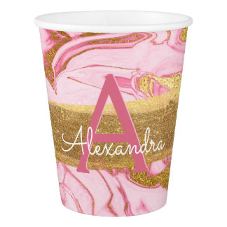 Hot Pink and Gold Foil Elegant Marble Birthday Paper Cup