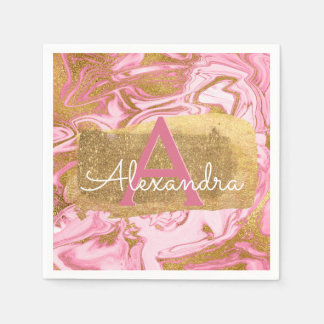 Hot Pink and Gold Foil Elegant Marble Birthday Paper Serviettes