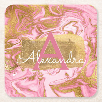 Hot Pink and Gold Foil Elegant Marble Birthday Square Paper Coaster