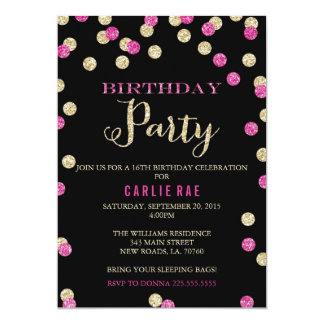 Hot Pink and Gold Glitter Birthday Invitations