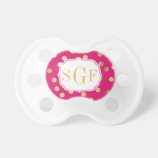 Hot Pink and Gold Glitter City Dots Monogram Dummy