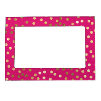 Hot Pink and Gold Glitter Dots Magnetic Picture Frame