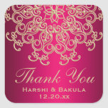 HOT PINK AND GOLD INDIAN INSPIRED THANK YOU LABEL SQUARE STICKER