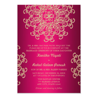 "HOT PINK AND GOLD INDIAN STYLE WEDDING INVITATION 5"" X 7"" INVITATION CARD"