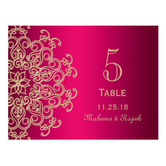 HOT PINK AND GOLD INDIAN WEDDING TABLE NUMBER CARD