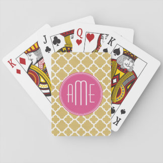 Hot Pink and Gold Quatrefoil Pattern Monogram Playing Cards