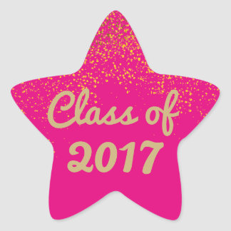 Hot Pink and Gold Star Graduation Sticker Template